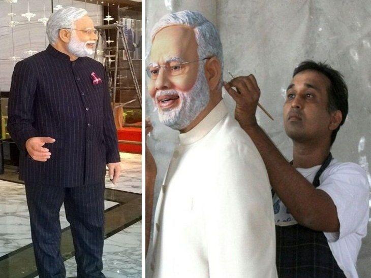 Mayur Vakani painting the Statue of PM Modi